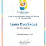 Laura Dvořáková - čestné uznání Pro Bohemia 2018